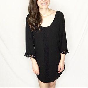 Anthropology [ASTR] | Black Scoop-Neck Mini Dress